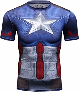 Men's Film Super-Hero Series Compression Sports Shirt Running Short Sleeve Tee