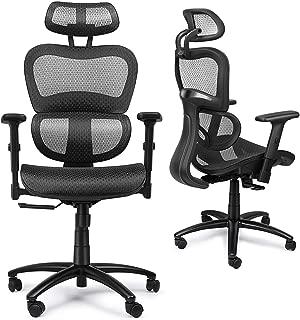 Mysuntown Office Mesh Chair, Ergonomic Task Chair with Back&Lumbar Support, Adjustable Headrest & Adjustable Armrests (Black)