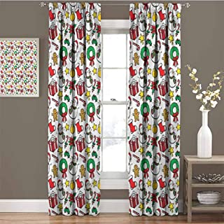 GUUVOR Christmas Shading Insulated Curtain Wreath Candy Cane Snowman Soundproof Shade W96 x L84 Inch