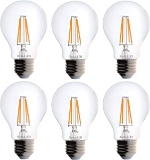 Bioluz LED Vintage 40 Watt Light Bulb, Edison Style Filament LED, Dimmable A19, Uses 4.5 Watts, Warm White (2700K) Clear Pendent Light Bulb UL Listed (Pack of 6)