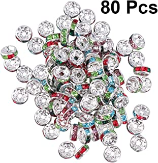 SUPVOX 80pcs Crystal Spacer Beads Rhinestone Rondelle Loose Beads for Jewelry Making DIY Craft 8mmシMixed Colorシ