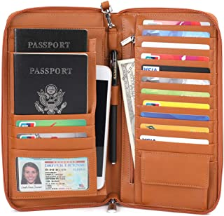Multi-Purpose Travel Wallet Passport Cover Credit Card Holder Document Organizer with Zipper and RFID Blocking, Brown