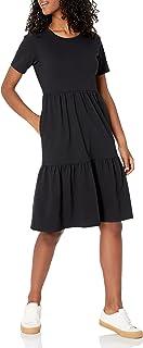 Amazon Essentials Women's Short-Sleeve Crewneck Tiered Dress