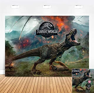 Volcano Forest Animal Photography Backdrop Children Birthday Party Supplies Vinyl Banner Jurassic World Photo Background Dinosaur Park Photo Booth Studio Props Cake Table Decorations 5x3ft