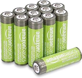Amazon Basics Piles rechargeables AA haute capacité 2400mAh (Lot de 12) - Pré-chargées
