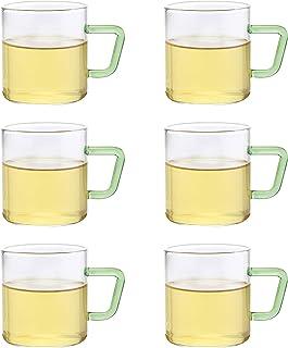 BOROSIL COLOUR GLASS MUG SET - 190 ml WITH GREEN HANDLE SET OF 6