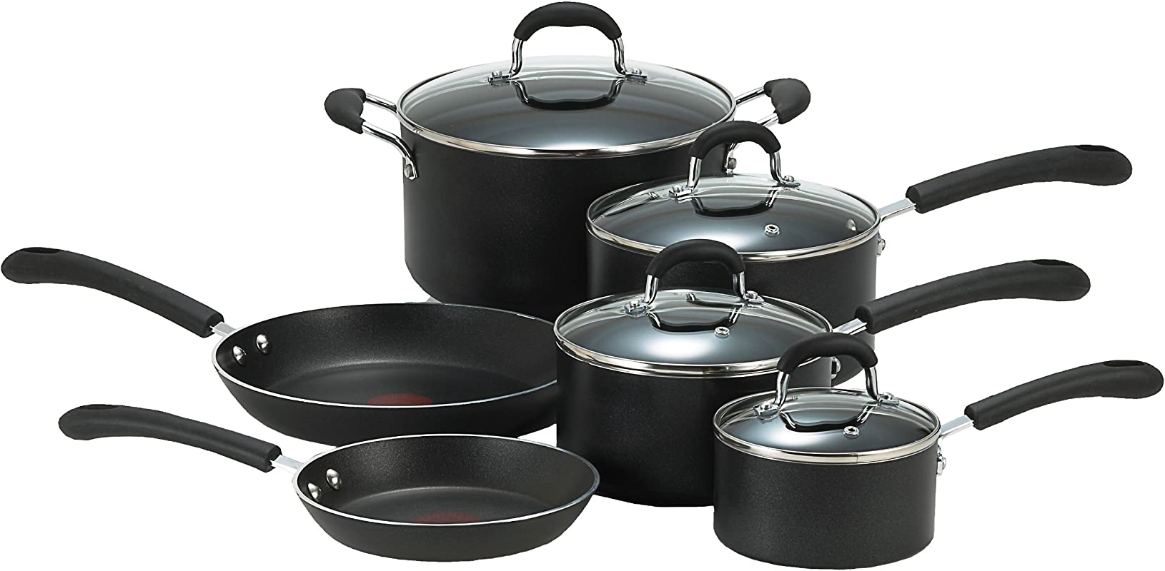 T Fal E938SA Professional Total Nonstick Oven Safe Thermo Spot Heat Indicator 10 Piece Dishwasher Safe Cookware Set Black