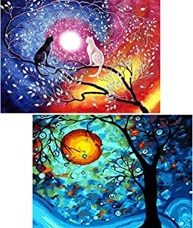 Yomiie 5D Diamond Painting by Number Kits Arts Cats & Dream Tree Full Drill for Adults, Colorful Pets Paint with Diamond Cross Stitch Animal Kitten DIY Craft Decor (12x16inch, 2 Pack)