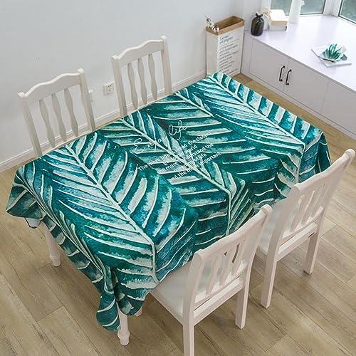 Tischdecke Baumwolle Leinen frisch Grün wasserdicht rechteckig einfach Tuch Couchtisch Esstischdecke , 004 , 140230cm