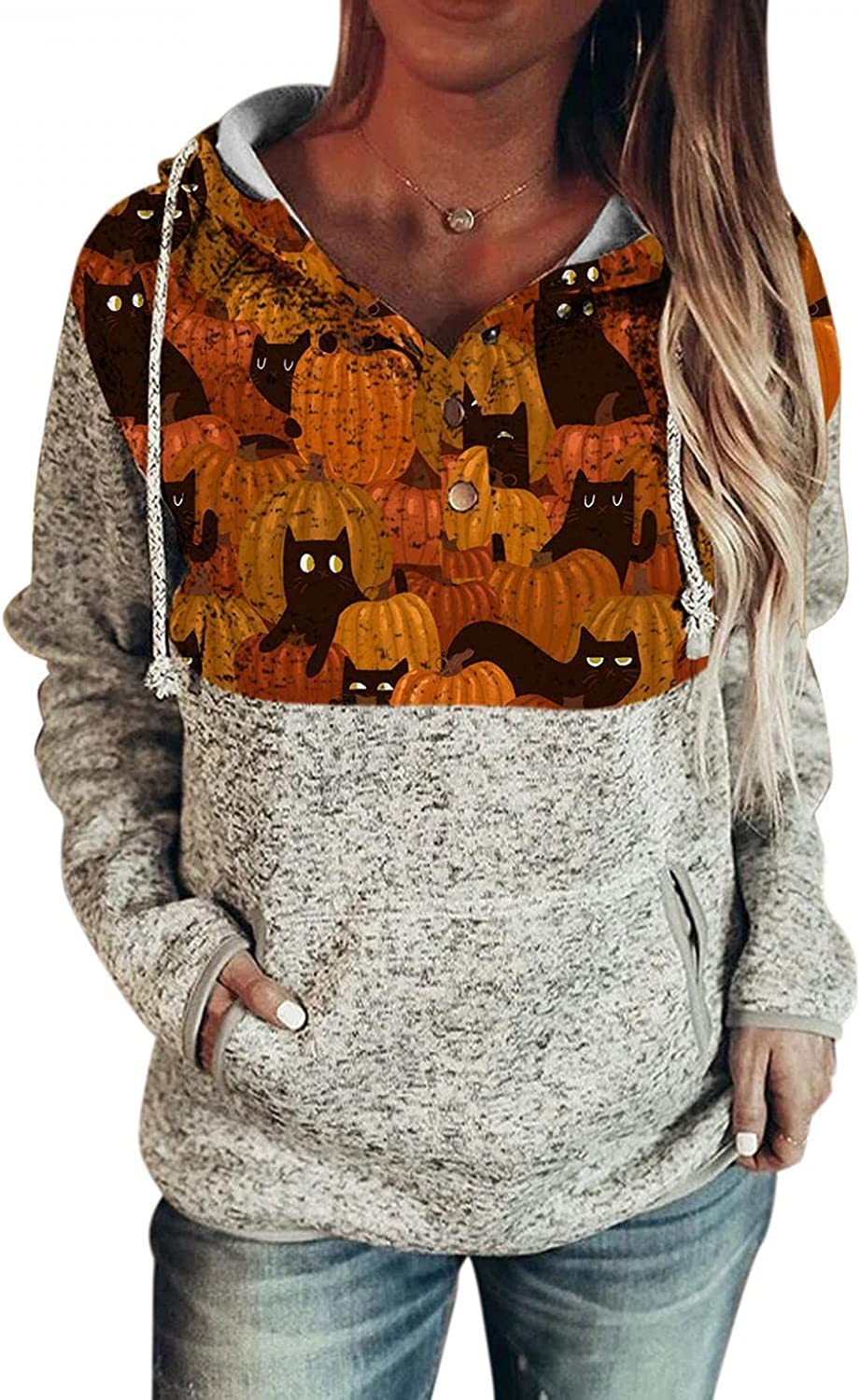 Halloween Sweatshirts for Women Casual Drawstring Cute Cat Printed Long Sleeve Hoodies Sweaters Pullover Top with Button