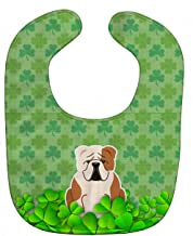 Caroline's Treasures Shamrocks Baby Bib, English Bulldog Fawn White, Large
