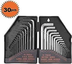 "Tacklife Allen Wrench Set, 30Pcs Hex Key Set, 15Pcs Inch Black Long Arm 0.028""- 3/8"", 15Pcs Metric Grey Short Arm 0.7-10mm, Exact Size Marking with Portable Case HHW1A"