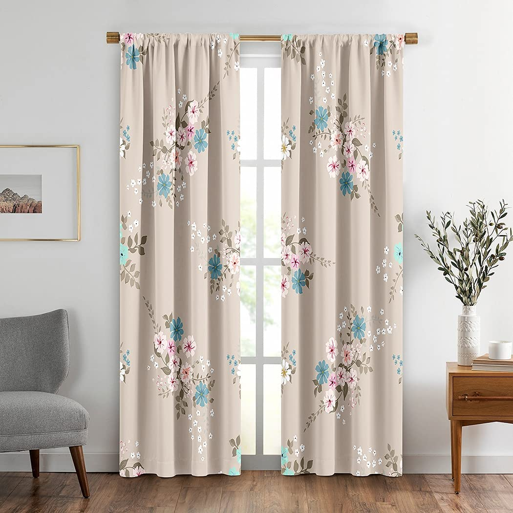 Flowers Window Drapes Gifts Curtain 2 Panels Scal in Simple depot Small Cute