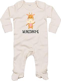 Kleckerliese Baby Schlafanzug Strampler Schlafstrampler Sprüche Jungen Mädchen Motiv Tiere Giraffe Wunschname Name Wunschtext
