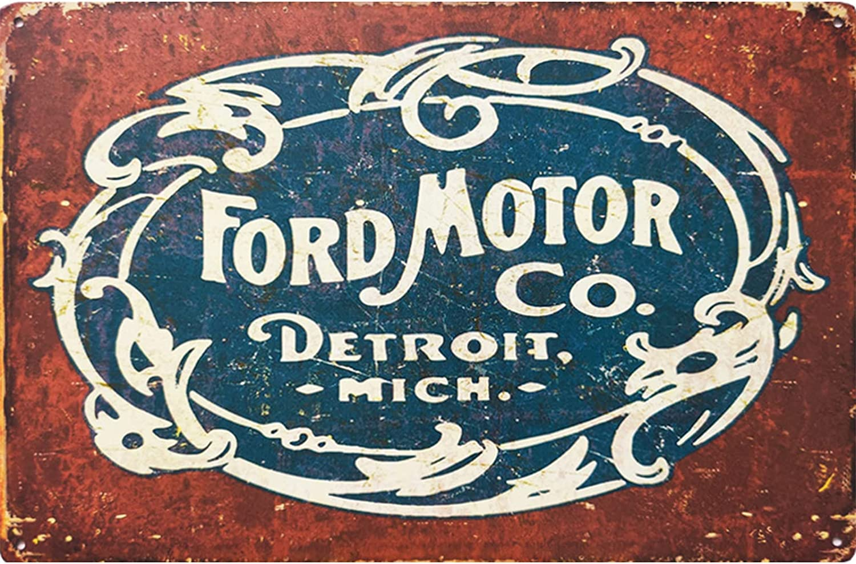 YOSEWI Ford Motor Co. Logo Retro Tin Sign Vintage Metal Wall Decor for Man Cave Garage Home Bar Decoration Pub Bar Poster