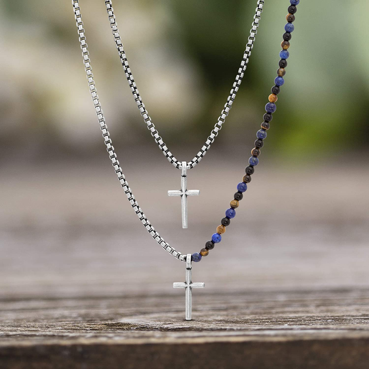 Steve Madden Stainless Steel Beaded Double Layer Cross Necklace for Men 25 and 27 Inch Box Chains