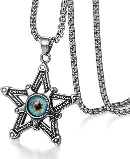 قلادة عين شرير من المجوهرات وي قلادة جوفاء بطبقتين خماسي من الفولاذ المقاوم للصدأ للرجال، 22 بوصة
