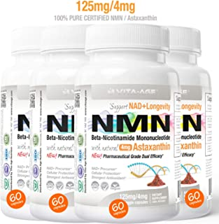 (4 x NMN 60 Capsules 125mg) Vita-Age Certified NMN β- Nicotinamide Mononucleotide + Astaxanthin - Sirtuin Activation Anti-Aging DNA-Repair Energy+ (NAD+ Antioxidants)