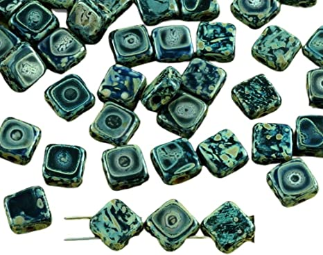 30pcs Crystal Rhombus Flat Square Silky 2 Two Hole Czech Glass Beads 6mm