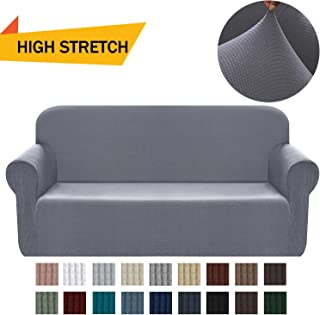 Chelzen Stretch Sofa Covers 1-Piece Polyester Spandex Fabric Living Room Couch Slipcovers (Large, Light Gray)