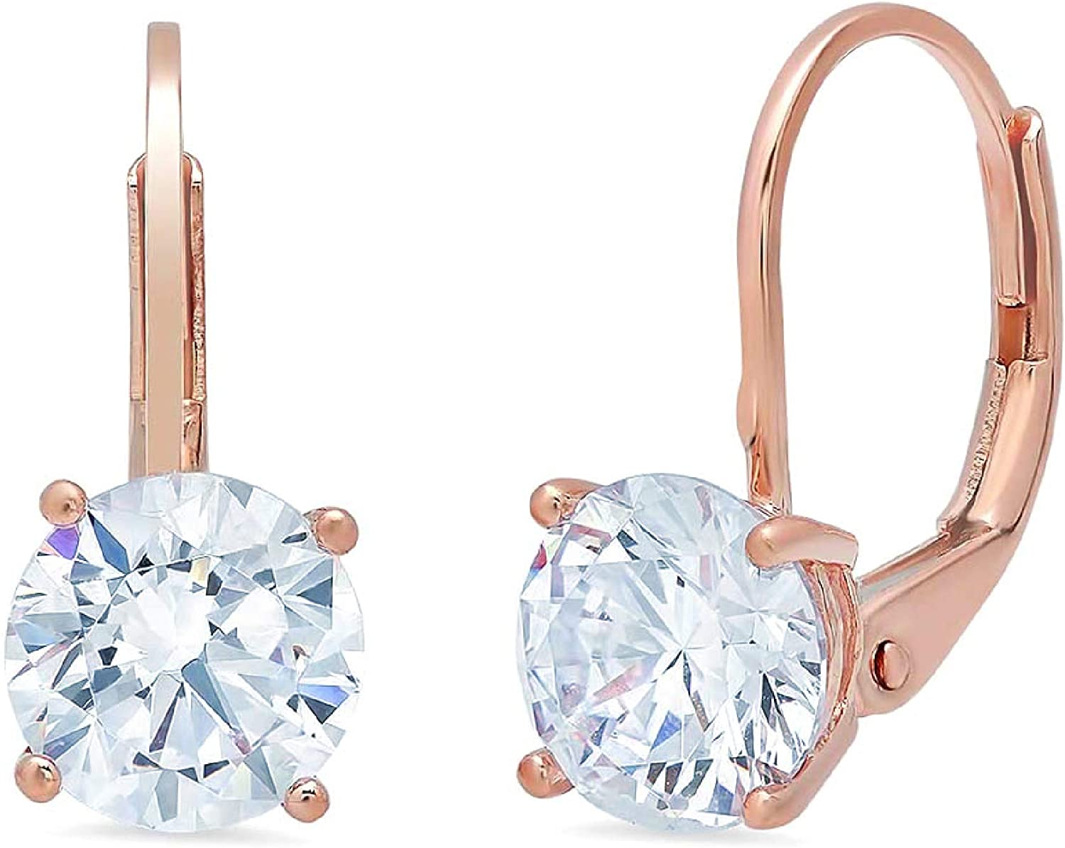 2.9ct Brilliant Round Cut Solitaire Aquamarine Blue CZ Unisex Designer Lever back Drop Dangle Earrings Solid 14k Rose Gold conflict free Jewelry