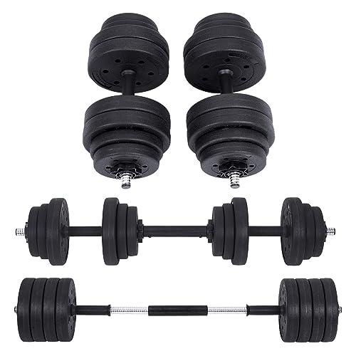 SONGMICS Kit haltères Musculation, Poids Ajustable, avec Barre d'Extension supplémentaire, 20 kg, 30 kg, Musculation