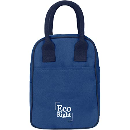 Eco Right Insulated Lunch Bag for Office Men, Women and Kids, Canvas Tiffin Bags for School, Picnic, Work, Carry Bag for Lunch Box | Navy Blue | 0703-N
