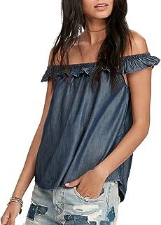 Denim & Supply Ralph Lauren Women's Off-The-Shoulder Denim Shirt Rinse Wash XS