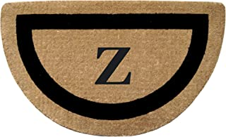 """Heavy Duty 22"""" x 36"""" Coco Mat, Black Single Picture Frame Monogrammed Z, Half Round"""