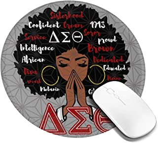 LiweizhiAPP Delta Sigma Theta Round Mouse Pad Waterproof Smooth Ultra-Thin Precision Control Game Office7.9x7.9 in