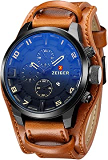 Men's Casual Leather Analog Watch with Black Dial Cuff Field band( Black and Brown)
