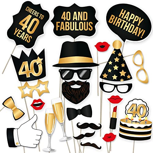40th Birthday Photo Booth Props Fabulous Forty Party Decoration Supplies For Him Her Funny