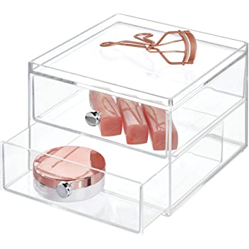 "iDesign Plastic 2 Jewelry Box, Compact Storage Organization Drawers Set for Cosmetics, Dental Supplies, Hair Care, Bathroom, Office, Dorm, Desk, Countertop, 6.5"" x 7"" x 5"""