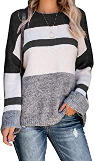 PRETTODAY Women's Color Block Knit Sweaters Long Sleeve Crew Neck Knit Pullovers Casual Jumper Tops