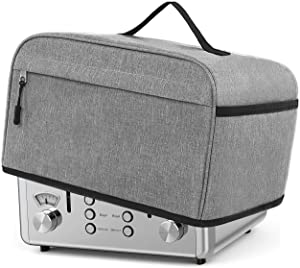 Toaster cover, Dust Cover Toaster Fits for Most Standard 4 slice Toasters with Pockets and Top Handle Compatible with Cuisinart Toaster cover 12 x 10 x 7.5 inches, Gray