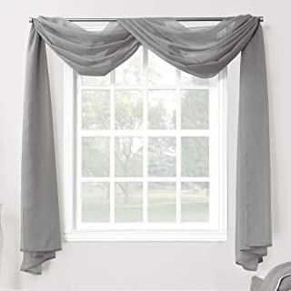 No. 918 Emily Sheer Voile Rod Pocket Curtain Panel, Valance Scarf, Charcoal
