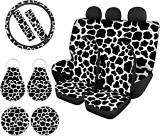 Xhuibop Universal Steering Wheel Cover Cow Print Accessories for Women Car Seat Protector Rear Blanket Bucket Cover Seatbe...