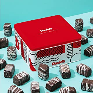 David's Cookies Chocolate Covered Brownie Bites in Signature Tin – Delicious Mini Brownies With Rich Dark Chocolate Glaze – Yummy Brownie Morsels Make Gourmet Desserts Gift For Special Occasions