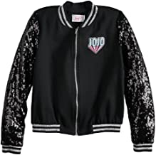 JoJo Siwa Jacket for Girls Lightweight Sequin Black Athletic Bomber Coat (Medium 10/12)