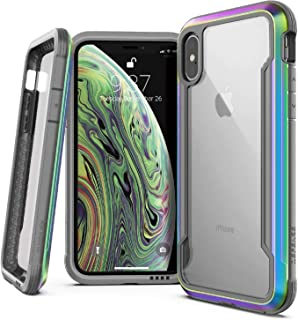 X-Doria Defense Shield Case Designed for iPhone X, iPhone Xs, Military Grade Drop Tested, Anodized Aluminum, TPU, and Polycarbonate Protective Case, [Iridescent]