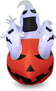 DAMGOO 6Ft Light up Halloween Pumpkin Inflatable Decoration Ghost Break Out from Pumpkin Decorations Inflatables for Lawn Garden Home Party Indoor Outdoor