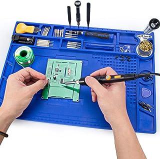 Soldering Mat, Preciva 932°F Heat-resistant Magnetic Multi-purpose Repair Mat Anti-Static Workbench mat with Screw Position for Soldering Iron Phone and Circuit Board Repair (Purple)