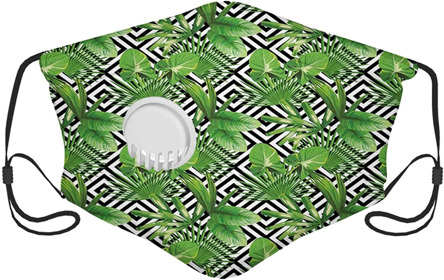 Banana Leaf, Coconut Palm Tree on Modern Abstract Backdrop Rainforest Design,Black White Hunter Green Windproof Face Mask,Reusable,Washable Cloth,Face Cover,Cover for Men Women