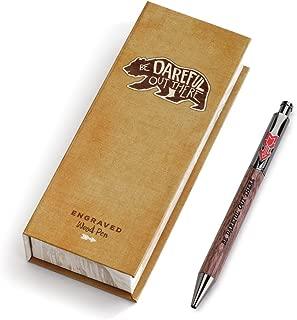 Be Dareful Bear Natural Brown 6 Inch Wood Black Ink Ballpoint Pen in Gift Box