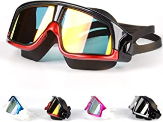 Premium Big Large Frame Swim Goggles, Swimming Goggles Anti Fog No Leaking with UV Protection and Clear Lens Wide-Vision for Men Women Adult Youth with Free Case,Nose Clip and Ear Plugs