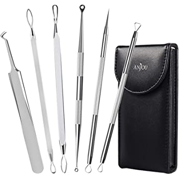 Anjou Blackhead Remover Comedone Extractor, Curved Blackhead Tweezers Kit, 11-Heads Professional Stainless Pimple Acne Blemish Removal Tools Set, Silver