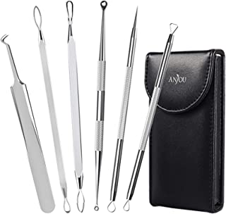 Anjou Blackhead Remover Comedone Extractor, Curved Blackhead Tweezers Kit, 11-Heads..