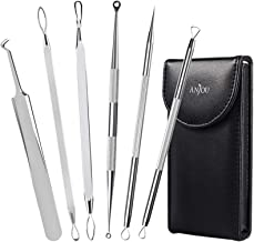 Anjou Blackhead Remover Comedone Extractor, Curved Blackhead Tweezers Kit, 6-in-1 Professional Stainless Pimple Acne Blemi...
