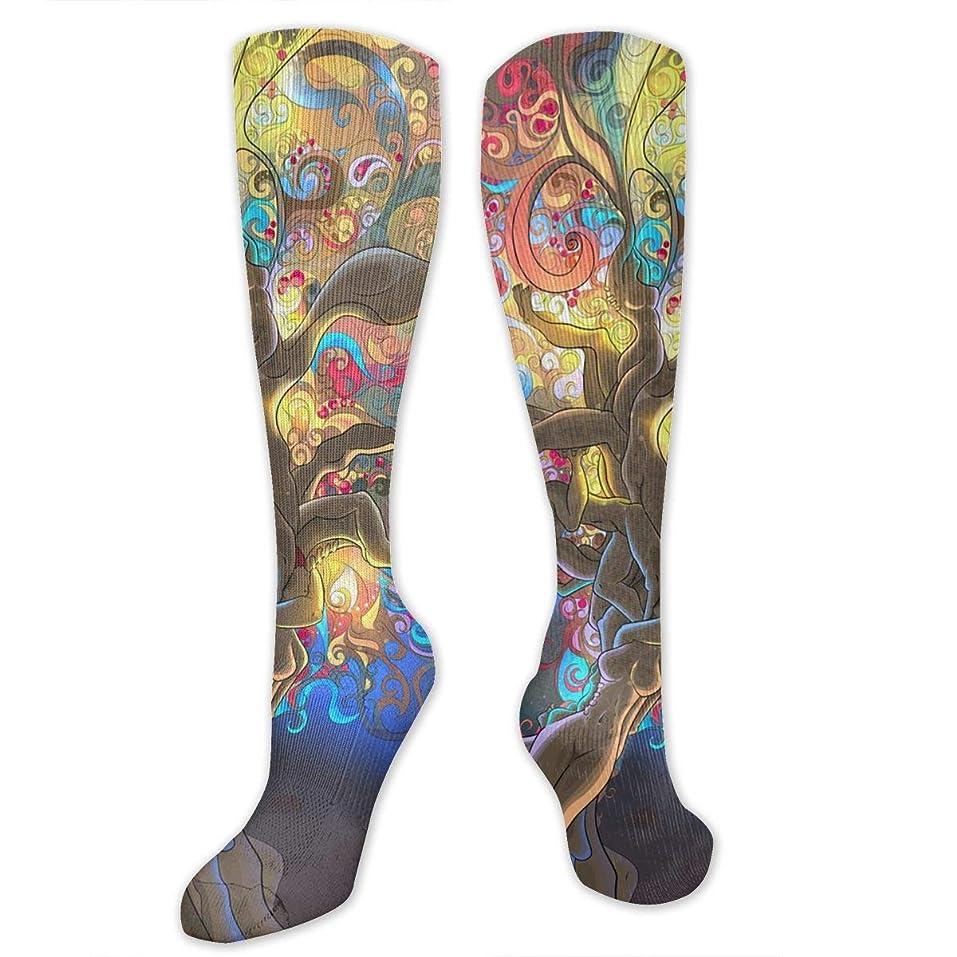書店一泳ぐ靴下,ストッキング,野生のジョーカー,実際,秋の本質,冬必須,サマーウェア&RBXAA Women's Winter Cotton Long Tube Socks Knee High Graduated Compression Socks Magical Psychedelic Trippy Socks