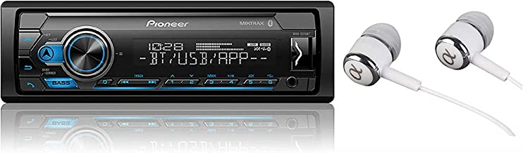 Pioneer MVH-S310BT Single Din Built-in Bluetooth , MIXTRAX , USB , Auxiliary , Pandora , Spotify , iPhone , Android and Smart Sync App Compatibility Car Digital Media Receiver with ALPHASONIK EARBUDS